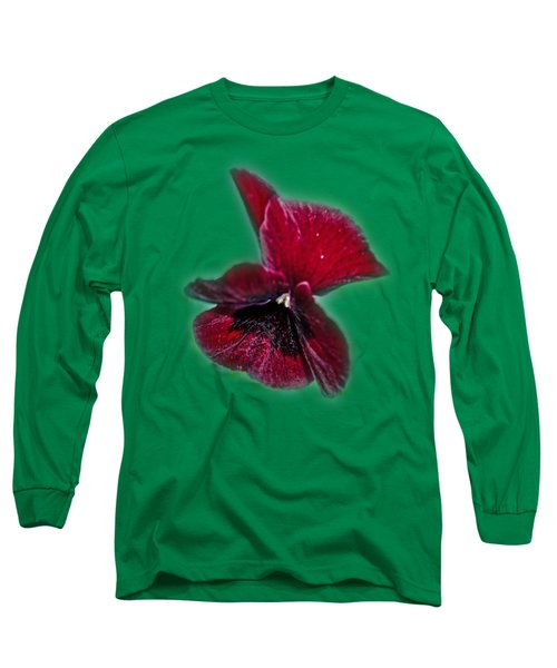 Burgundy Pansy  Tee-shirt Long Sleeve T-Shirt by Donna Brown