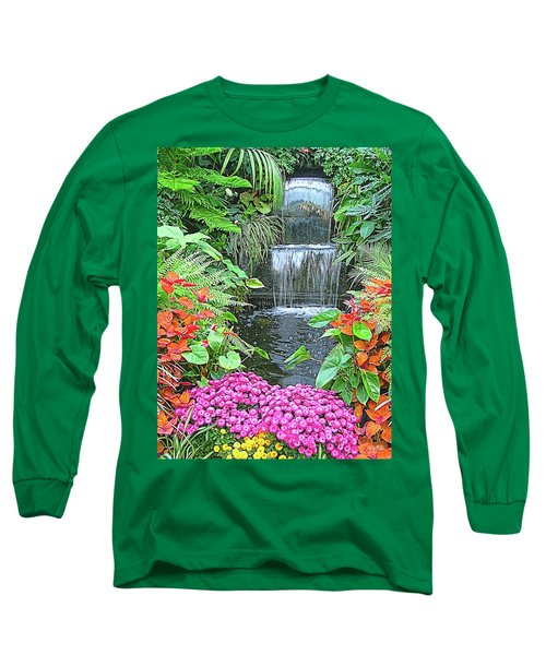 Butchart Gardens Waterfall Long Sleeve T-Shirt by Wendy McKennon