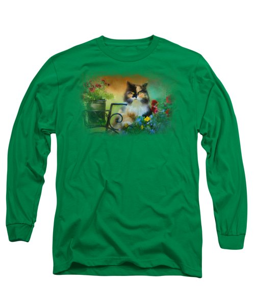 Calico In The Garden Long Sleeve T-Shirt by Jai Johnson
