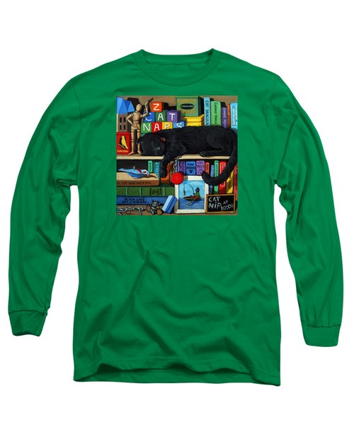 Long Sleeve T-Shirt featuring the painting Cat Nap - Orginal Black Cat Painting by Linda Apple