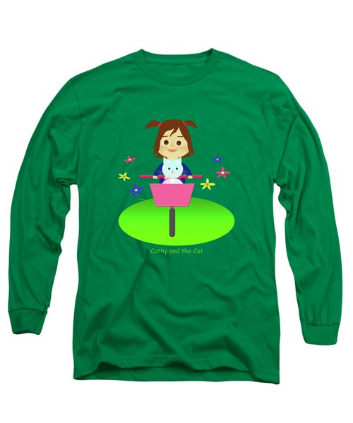 Cathy And The Cat On A Bike Long Sleeve T-Shirt
