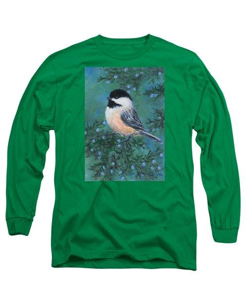 Cedar Chickadee 2 Long Sleeve T-Shirt by Kathleen McDermott