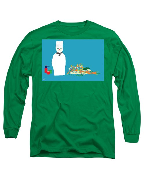 Long Sleeve T-Shirt featuring the digital art Chef Snowman by Barbara Moignard