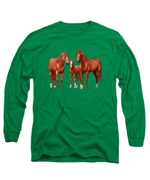 Chestnut Horses In Winter Pasture Long Sleeve T-Shirt