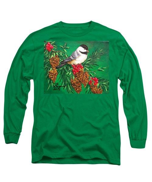 Chickadee And Pine Cones Long Sleeve T-Shirt