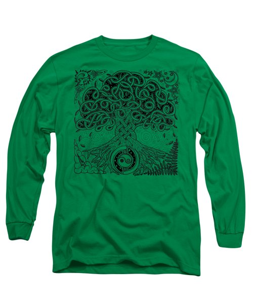 Circle Celtic Tree Of Life Inked Long Sleeve T-Shirt by Kristen Fox