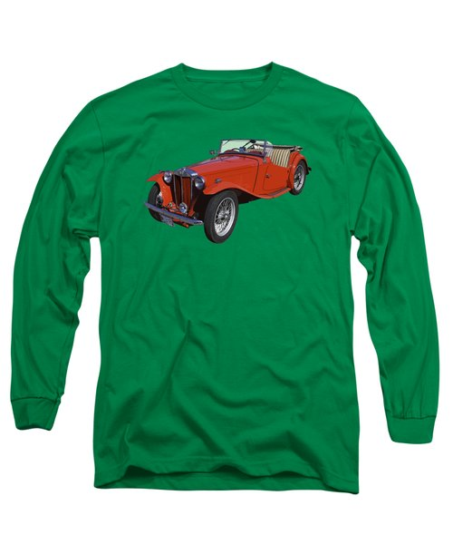 Classic Red Mg Tc Convertible British Sports Car Long Sleeve T-Shirt by Keith Webber Jr