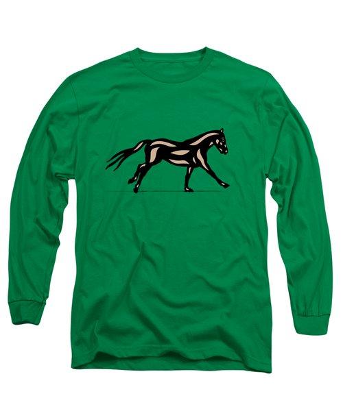 Clementine - Pop Art Horse - Black, Hazelnut, Emerald Long Sleeve T-Shirt