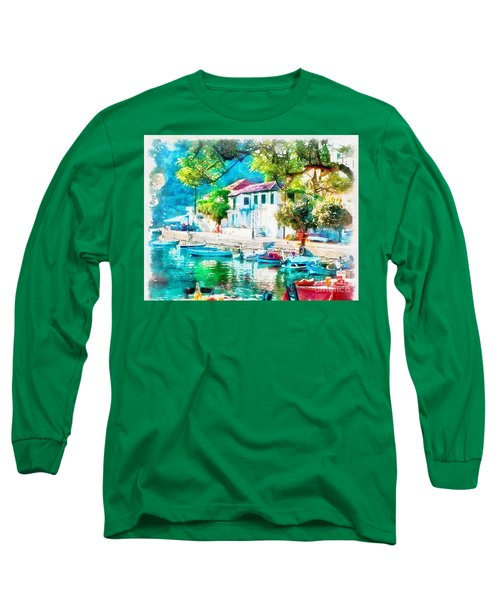 Coastal Cafe Greece Long Sleeve T-Shirt by Yanni Theodorou