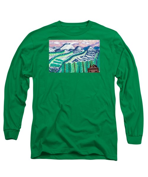 Long Sleeve T-Shirt featuring the painting Colorado Cabin by Don Koester