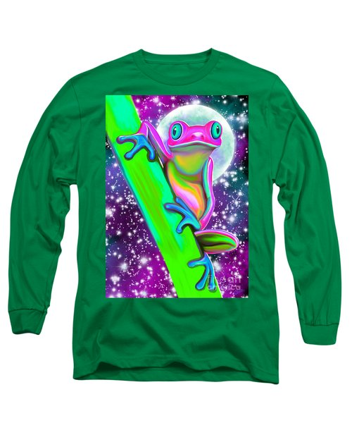 Colorful Frog In The Moonlight Long Sleeve T-Shirt