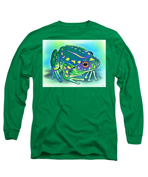 Long Sleeve T-Shirt featuring the painting Colorful Froggy by Nick Gustafson