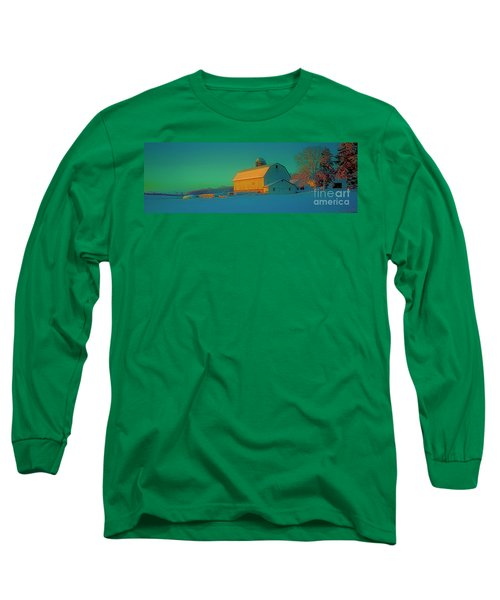 Long Sleeve T-Shirt featuring the photograph Conley Rd White Barn by Tom Jelen