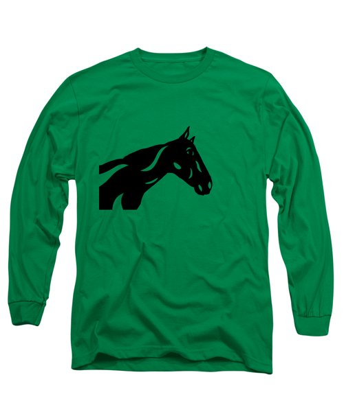 Long Sleeve T-Shirt featuring the painting Crimson - Abstract Horse by Manuel Sueess