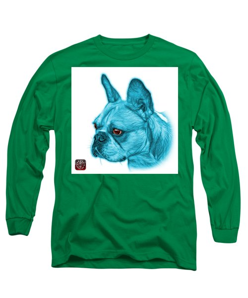 Cyan French Bulldog Pop Art - 0755 Wb Long Sleeve T-Shirt