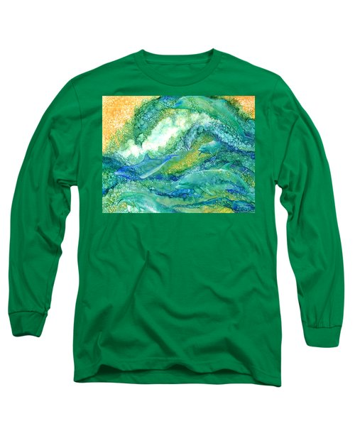 Long Sleeve T-Shirt featuring the mixed media Dolphin Waves 2 by Carol Cavalaris