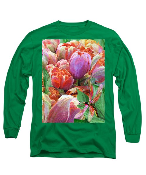 Long Sleeve T-Shirt featuring the mixed media Dragonfly And Tulips 2 by Carol Cavalaris
