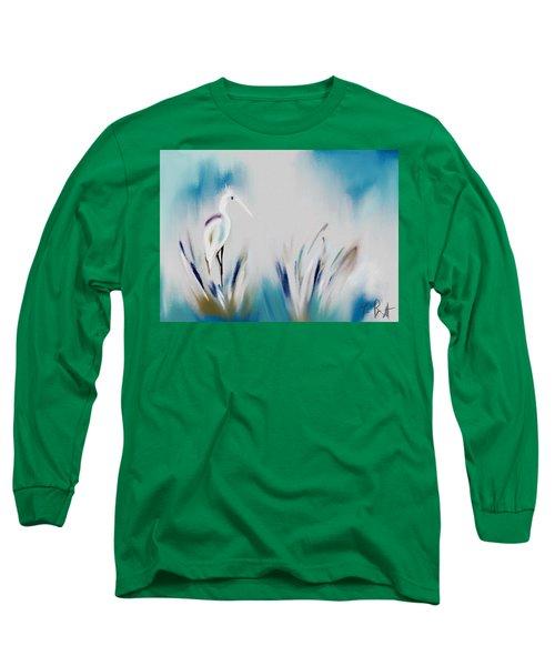 Egret Splash Long Sleeve T-Shirt by Frank Bright