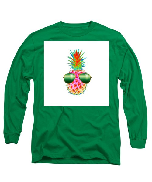 Electric Pineapple With Shades Long Sleeve T-Shirt