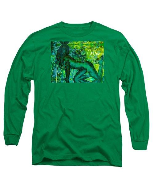 Emerald Green Sacred Sex Graffiti Long Sleeve T-Shirt by Deprise Brescia