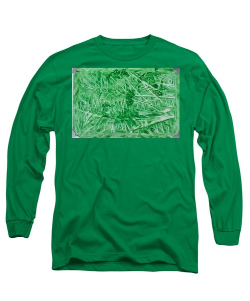 Encaustic Abstract Green Foliage Long Sleeve T-Shirt