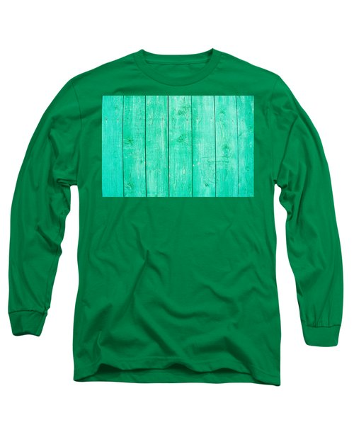 Long Sleeve T-Shirt featuring the photograph Fading Aqua Paint On Wood by John Williams
