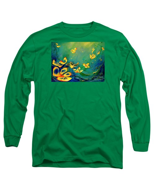 Long Sleeve T-Shirt featuring the painting Fantasy World by Teresa Wegrzyn