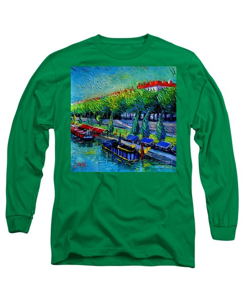 Festive Barges On The Rhone River Long Sleeve T-Shirt