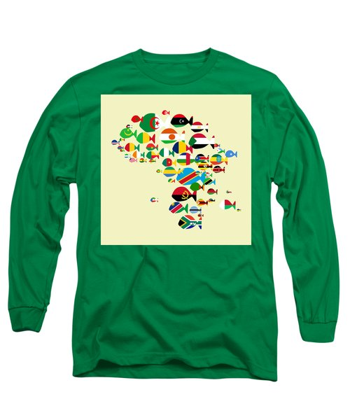 Fishes Map Of Africa Long Sleeve T-Shirt by Keshava Shukla