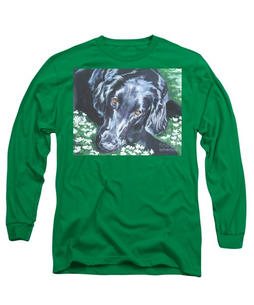 Long Sleeve T-Shirt featuring the painting Flat Coated Retriever by Lee Ann Shepard
