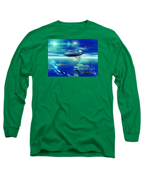 Long Sleeve T-Shirt featuring the digital art Fleet Aqua by Jacqueline Lloyd