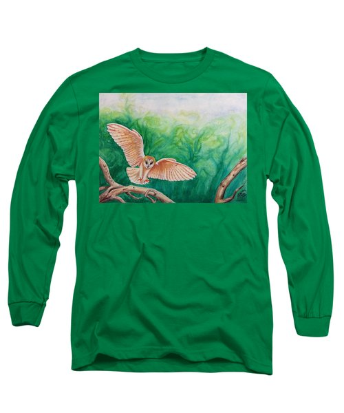Long Sleeve T-Shirt featuring the painting Flying Owl by Steed Edwards