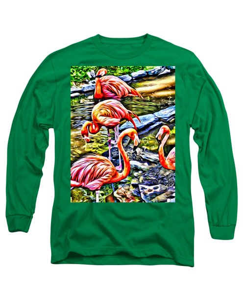 Four Pink Flamingos Long Sleeve T-Shirt