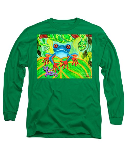 Frog Snake And Gecko In The Rainforest Long Sleeve T-Shirt by Nick Gustafson