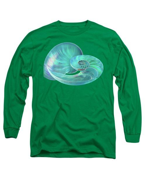 Glowing Turquoise Nautilus Shell Long Sleeve T-Shirt