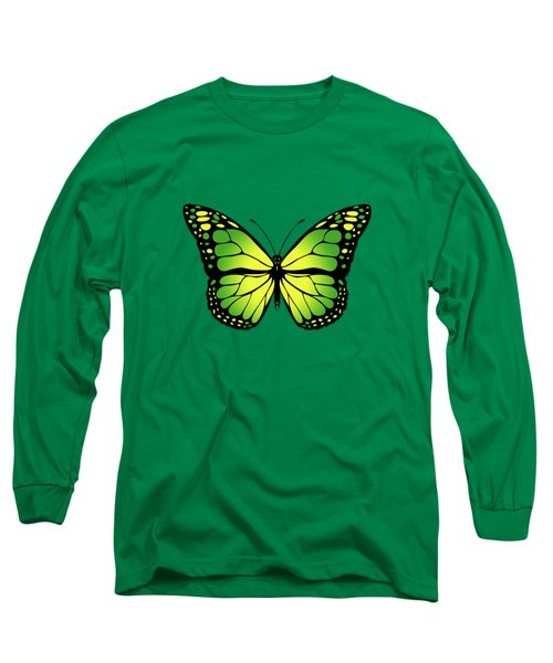 Green Butterfly Long Sleeve T-Shirt by Gaspar Avila