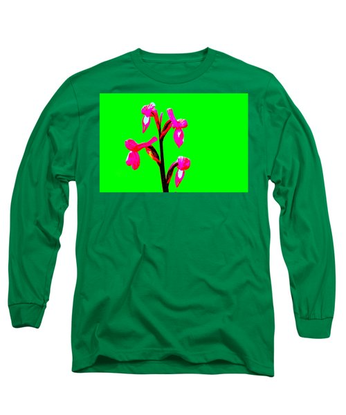 Green Champagne Orchid Long Sleeve T-Shirt by Richard Patmore