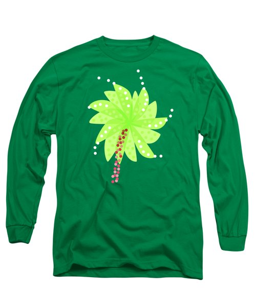 Green Flowers In The Wind Long Sleeve T-Shirt