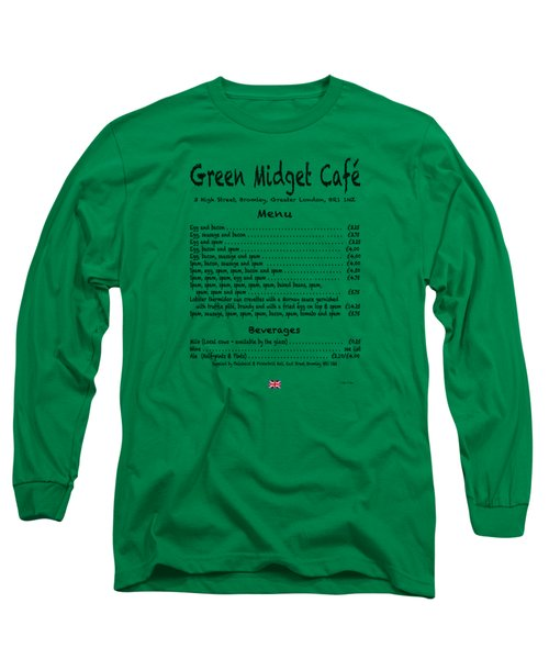 Green Midget Cafe Menu T-shirt Black Letters Long Sleeve T-Shirt by Robert J Sadler