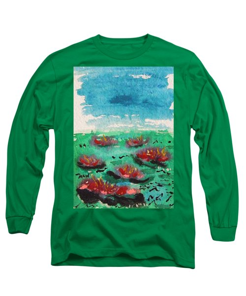 Green Pond With Many Flowers Long Sleeve T-Shirt