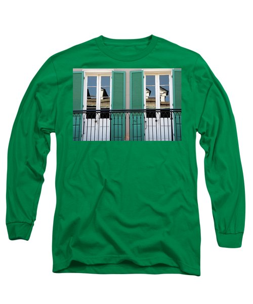 Long Sleeve T-Shirt featuring the photograph Green Shutters Reflections by KG Thienemann