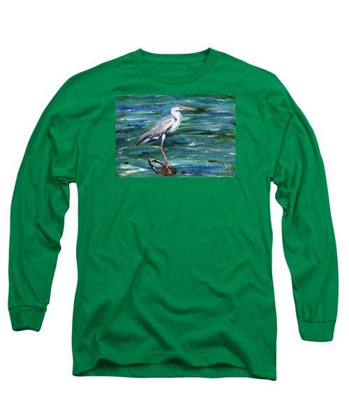 Grey Heron Of Cornwall -painting Long Sleeve T-Shirt