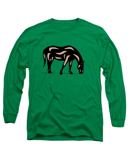 Hazel - Pop Art Horse - Black, Hazelnut, Greenery Long Sleeve T-Shirt