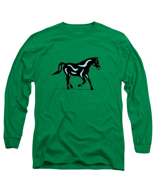 Heinrich - Pop Art Horse - Black, Island Paradise Blue, Greenery Long Sleeve T-Shirt