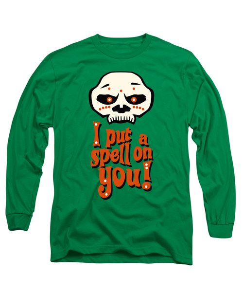 I Put A Spell On You Voodoo Retro Poster Long Sleeve T-Shirt by Monkey Crisis On Mars
