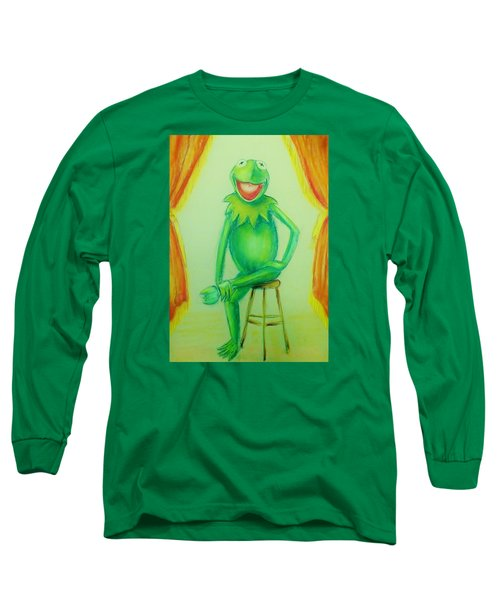 Long Sleeve T-Shirt featuring the drawing It's Not Easy Being Green by Denise Fulmer