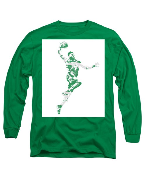Jaylen Brown Boston Celtics Pixel Art 10 Long Sleeve T-Shirt