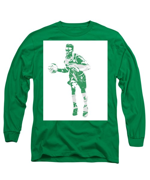 Jaylen Brown Boston Celtics Pixel Art 30 Long Sleeve T-Shirt
