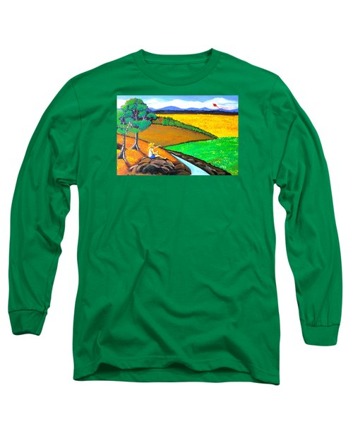 Long Sleeve T-Shirt featuring the painting Kite by Cyril Maza
