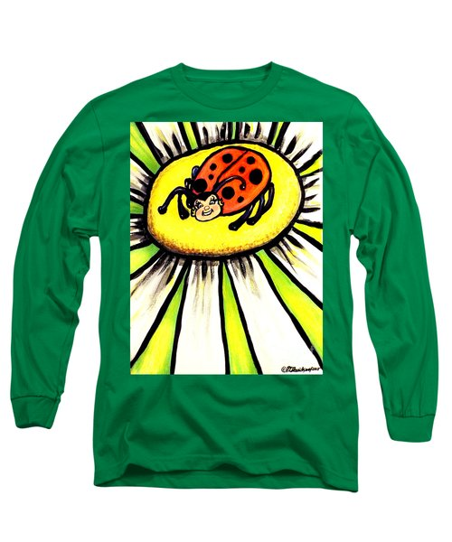 Long Sleeve T-Shirt featuring the painting Ladybug On A Flower by Patricia L Davidson
